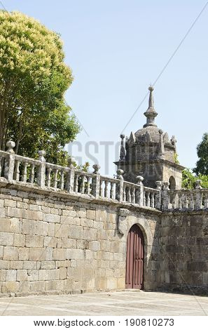 Turret in the old town of Cambados Pontevedra Galicia Spain.