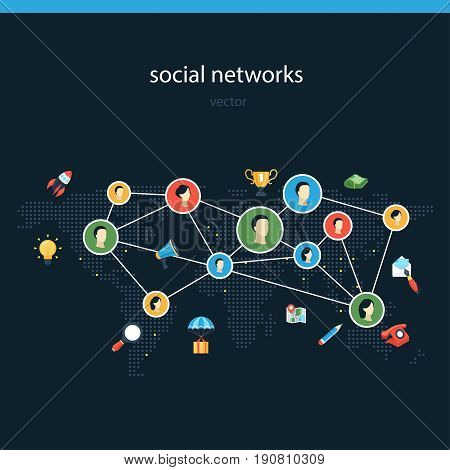 Social networks flat vector illustration. Media webinar