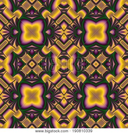 seamless pattern from the ordered to the chaotic elements of the rhombic structures in yellow, green, purple colors