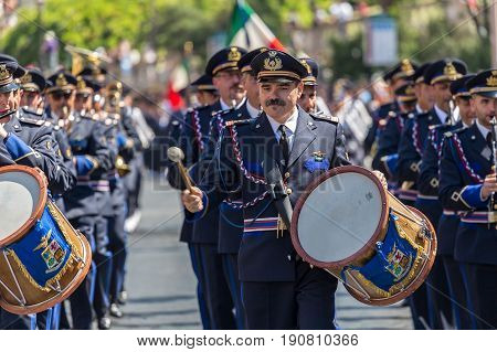 ROME ITALY - JUNE 2 2017: Military parade at Italian National Day. Oficers singers. Picture is taken between Piazza Venezia and Teatro di Marcello.