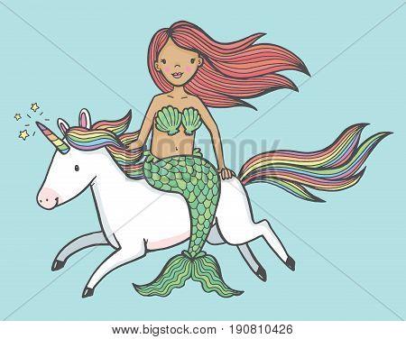 Cute cartoon drawing of a mermaid riding a unicorn. Vector illustration.