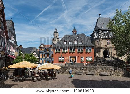 IDSTEIN, GERMANY-JUNE 12, 2017: View of the Koenig-Adolf-Platz with Town hall, Hesse, Germany