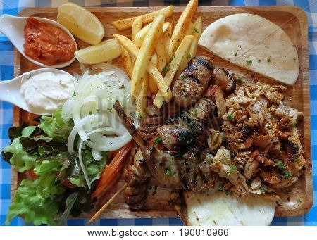 Top view of Souvlaki Platter, one of the most popular Greek dishes