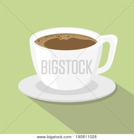 A cup of coffee flat style, coffee cup icon isolated on background, Cup of Coffee on a light Background, vector illustration.