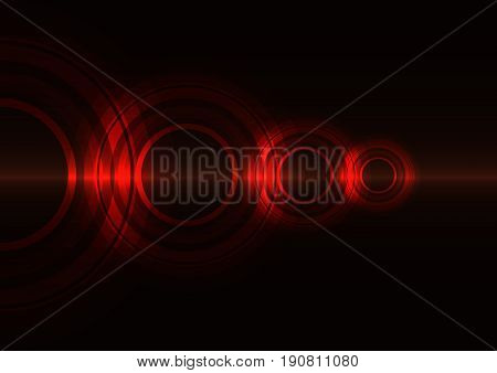 red frequency circle technology abstract background, wave overlap digital template, vector illustration
