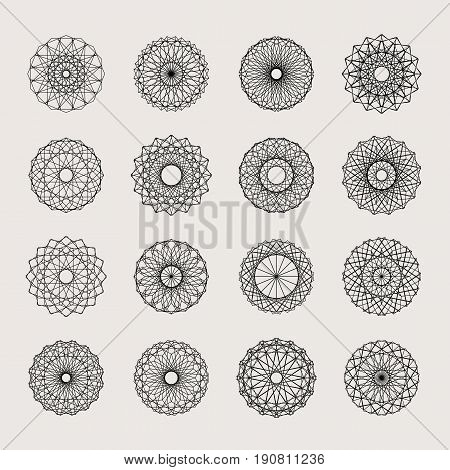 Guilloche decorative elements. Vector set of frames for vouchers, diplomas and certificates