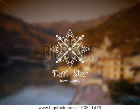 Asian travel logo with linear star. Vector ethnic ornamental design for travel agencies, tourist offices, local guides, booking and rental services.