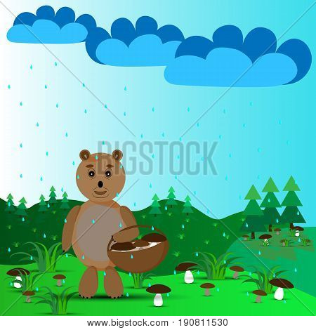 Bear with a basket and mushrooms on the outskirts in the rain