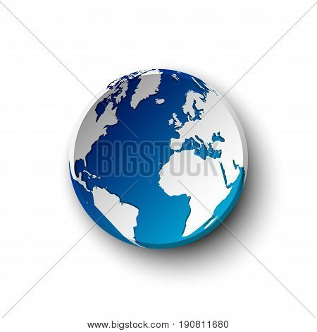 Blue earth badge and shadow . isolated .