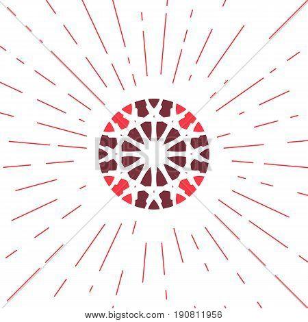 Circular ornamental sun symbol. Vector geometric emblem