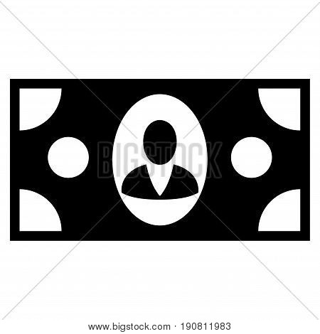 Banknote vector icon. Flat black symbol. Pictogram is isolated on a white background. Designed for web and software interfaces.