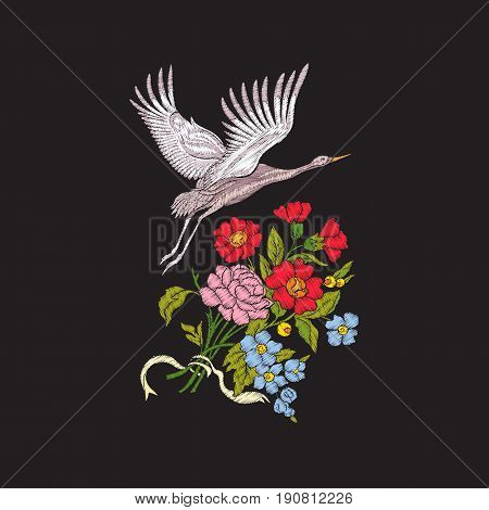 Embroidery flowers and crane on black background. Stock line vector illustration.
