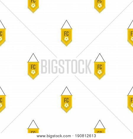 Yellow pennant with soccer ball pattern seamless background in flat style repeat vector illustration