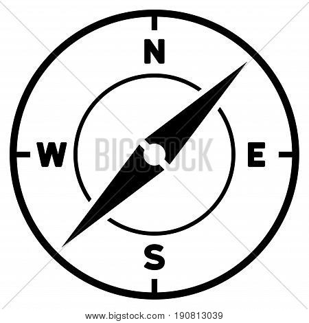 Compass vector icon. Flat black symbol. Pictogram is isolated on a white background. Designed for web and software interfaces.