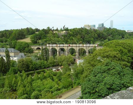 Train passing the Passerelle, 24 Arches Viaduct in Luxembourg City, Luxembourg