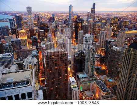 Chicago Downtown At Twilight