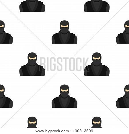 Ninja in black clothes and mask pattern seamless background in flat style repeat vector illustration