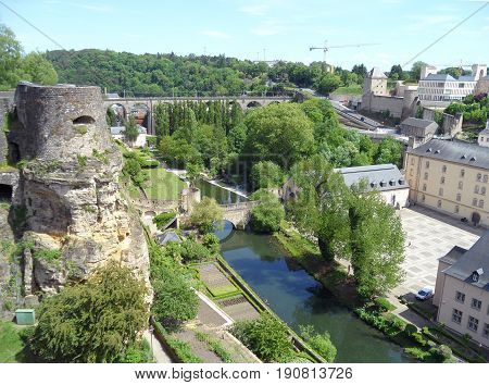 Impressive Landscape of the Lower City, UNESCO World Heritage Site of Luxembourg City, Luxembourg