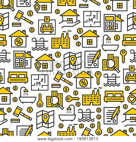 Real estate business outline vector icons seamless pattern