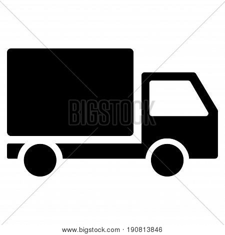 Delivery Lorry vector icon. Flat black symbol. Pictogram is isolated on a white background. Designed for web and software interfaces.
