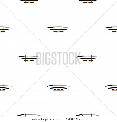 Katana on wooden stand pattern seamless background in flat style repeat vector illustration
