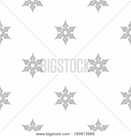 Shuriken weapon pattern seamless background in flat style repeat vector illustration