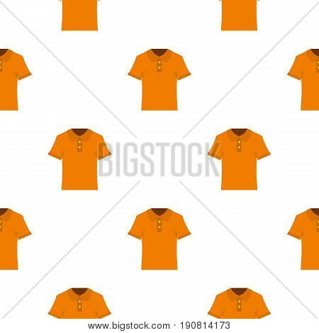 Orange men polo shirt pattern seamless background in flat style repeat vector illustration