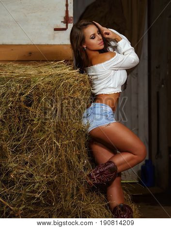 Beautiful sexy girl in a stable in the hayloft