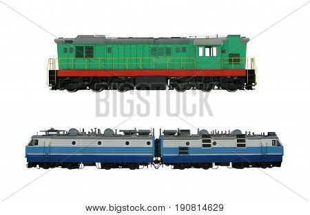 Different locomotives isolated on the white background