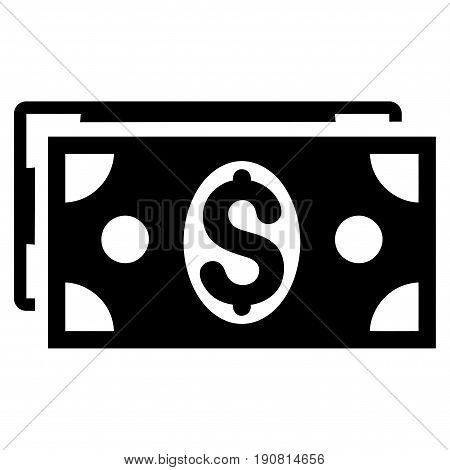 Dollar Banknotes vector icon. Flat black symbol. Pictogram is isolated on a white background. Designed for web and software interfaces.