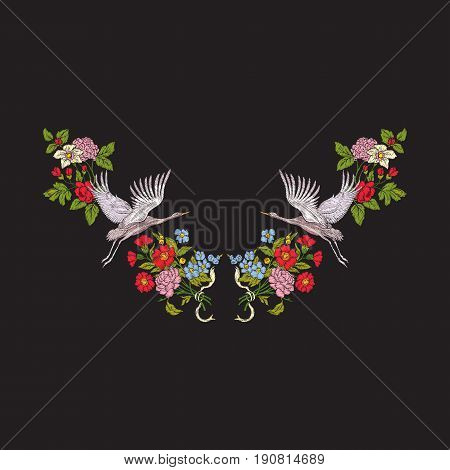 Embroidery neckline with flowers and crane on black background. Stock line vector illustration.