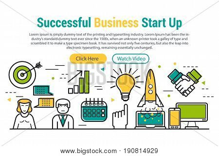 Vector header template of successful business startup. Linear icons, two buttons and sample text