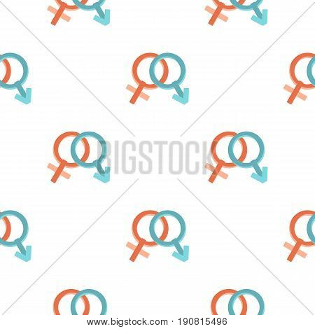 Male and female gender signs pattern seamless background in flat style repeat vector illustration