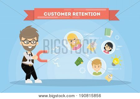 Customer retention concept. Man with magnet tries to appeal clients.