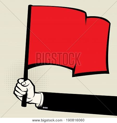 Hand holding a red flag vector illustration