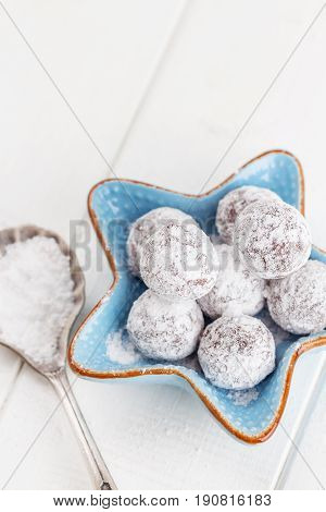 Chocolate Truffle With Sugar Powder On White