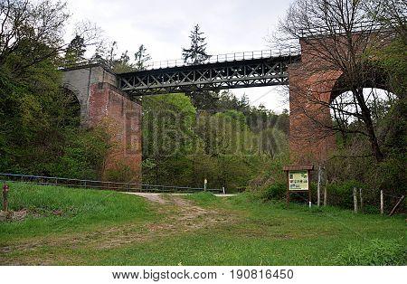 view the Old railway bridge, Czech Republic, Europe