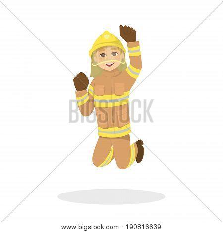 Isolated jumping fireman on white background. Man in orange uniform.