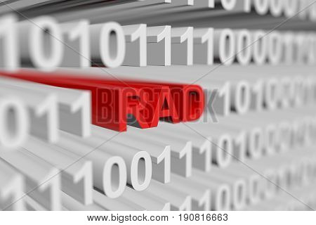 RAD in the form of a binary code with blurred background 3D illustration