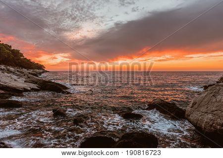 beautiful summer sunset over warm tropical sea