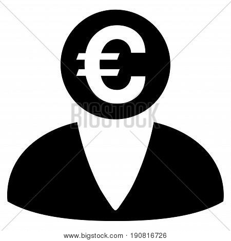 Euro Banker vector icon. Flat black symbol. Pictogram is isolated on a white background. Designed for web and software interfaces.
