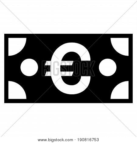 Euro Banknote vector icon. Flat black symbol. Pictogram is isolated on a white background. Designed for web and software interfaces.