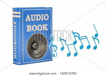 Book with loudspeaker and music notes audiobook concept. 3D rendering