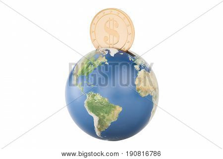 Earth globe piggy bank 3D rendering  isolated on white background