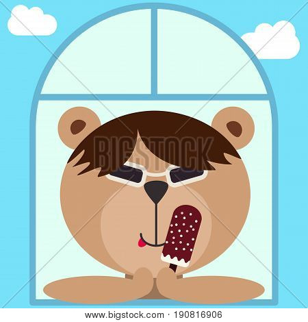Asian harsh teddy bear in dark glasses spectacles. Bear with ice cream looking out of the window. Flat style. Colorful summer mood avatar. Vector illustration for stickers