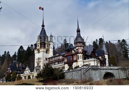 Peles Castle in winter, Sinaia, Transylvania, Romania