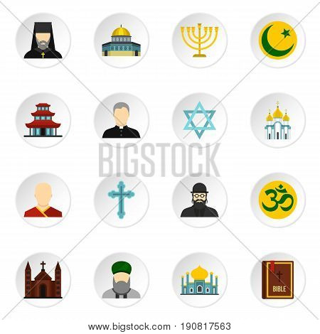 Religious symbol icons set. Flat illustration of 16 religious symbol vector icons set illustration