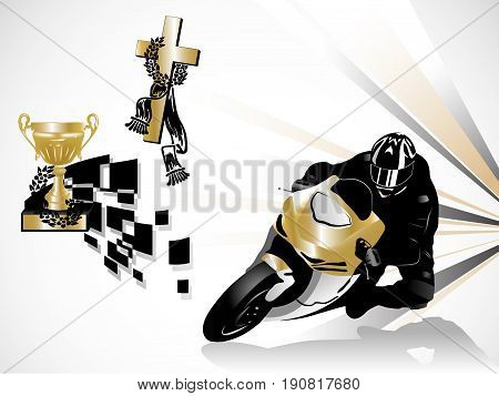 Vector illustration of gold road racing winner