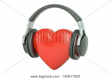 Red heart with headphones favorite music concept. 3D rendering isolated on white background