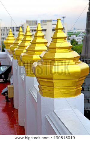 Roof  Gold    Temple   In   Bangkok  Sky Line  Temple